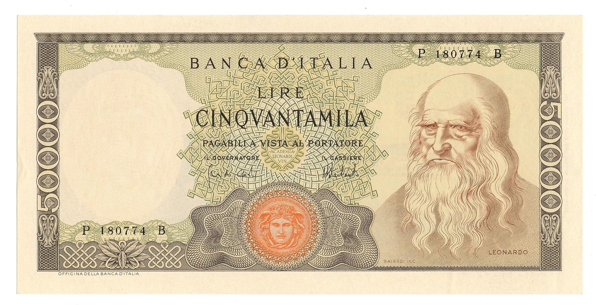 ac0d1bc4ee BANCONOTA DA LIRE 50000 LEONARDO DA VINCI • Scripomarket