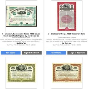 Session 1 - U.S. Banknotes Worldwide Banknotes, Scripophily & Security Printing Ephemera