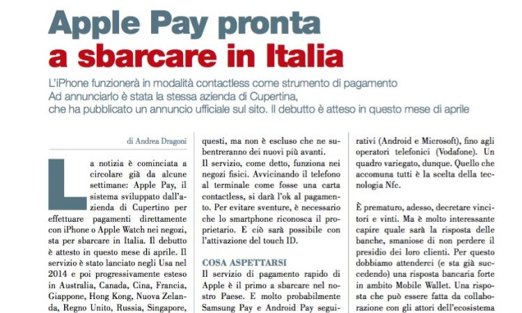 Apple Pay pronta a sbarcare in Italia
