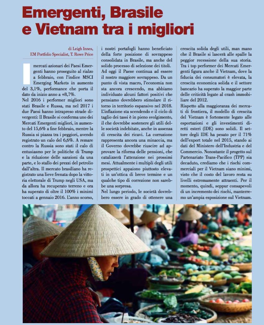 Emergenti, Brasile e Vietnam tra i migliori