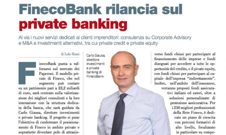 FinecoBank rilancia sul private banking