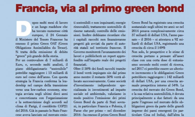 Francia, via al primo green bond
