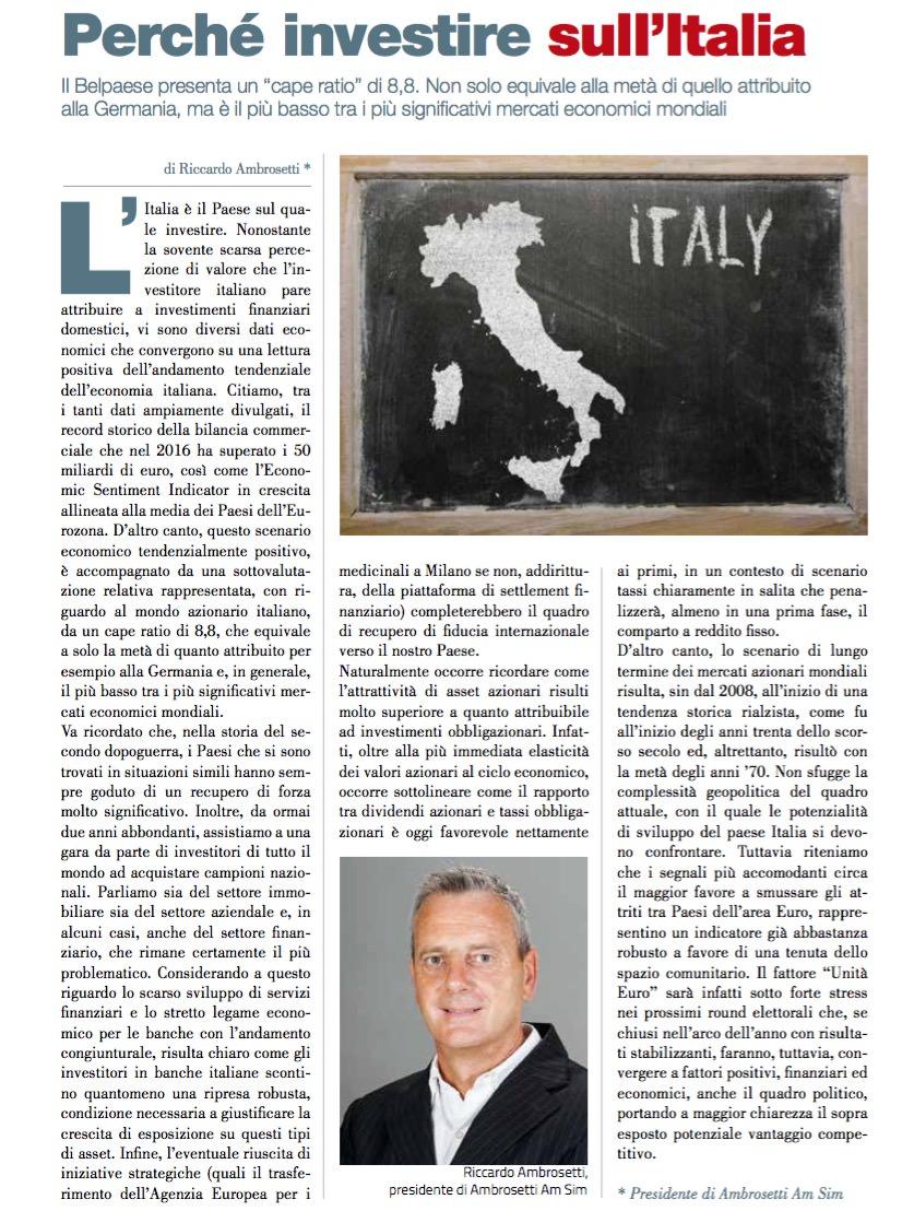 Perché investire sull'Italia di Riccardo Ambrosetti • Scripomarket