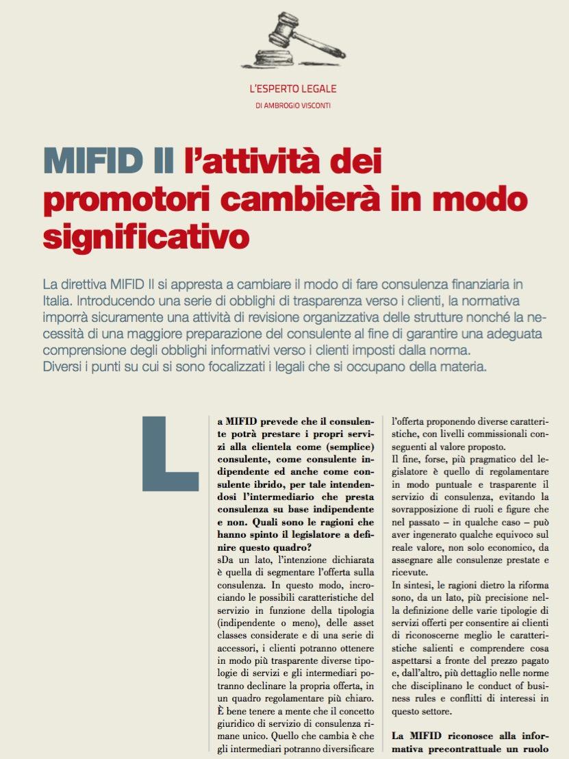 MIFID II l'attività dei promotori cambierà in modo significativo