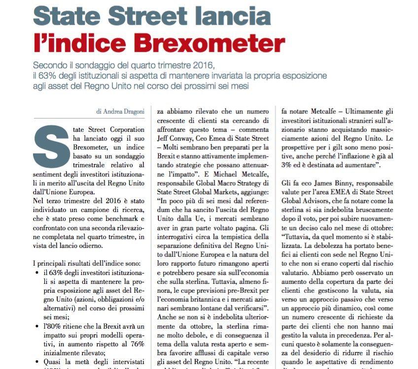 State Street lancia l'indice Brexometer