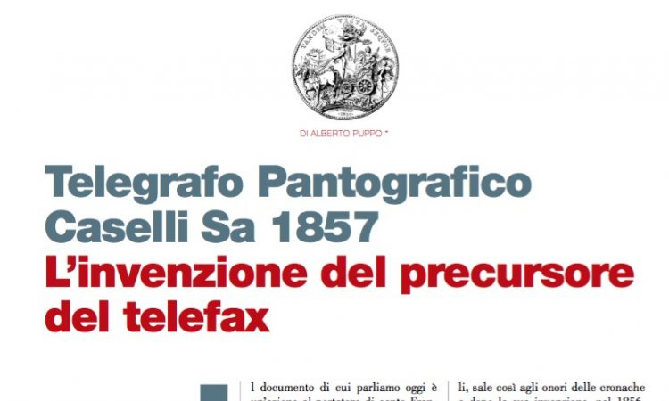 Telegrafo Pantogra co Caselli Sa 1857 L'invenzione del precursore del telefax