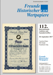 112. FHW-Auction at Sept. 30th, 2017 in Frankfurt