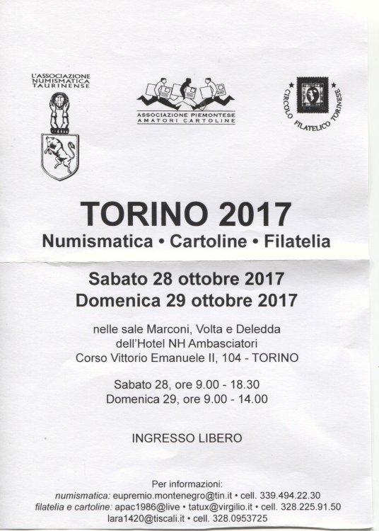 Torino 2017 Numismatica - Cartoline - Filatelia