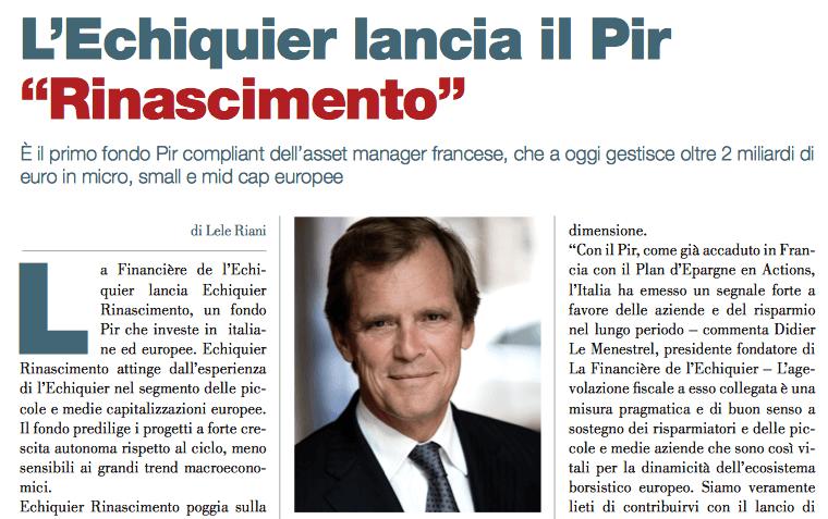 """L'Echiquier lancia il Pir """"Rinascimento"""" (di Lele Riani)"""