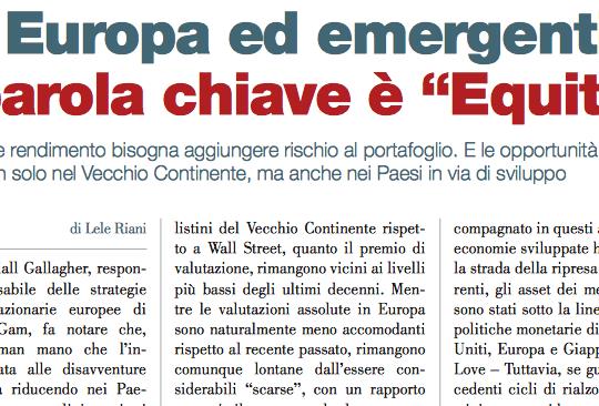 """Tra Europa ed emergenti la parola chiave è """"Equity"""" (di Lele Riani)"""