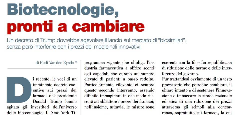 Biotecnologie, pronti a cambiare (di Rudy Van den Eynde) 2
