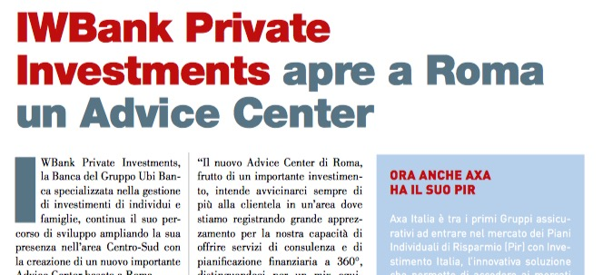 IWBank Private Investments apre a Roma un Advice Center