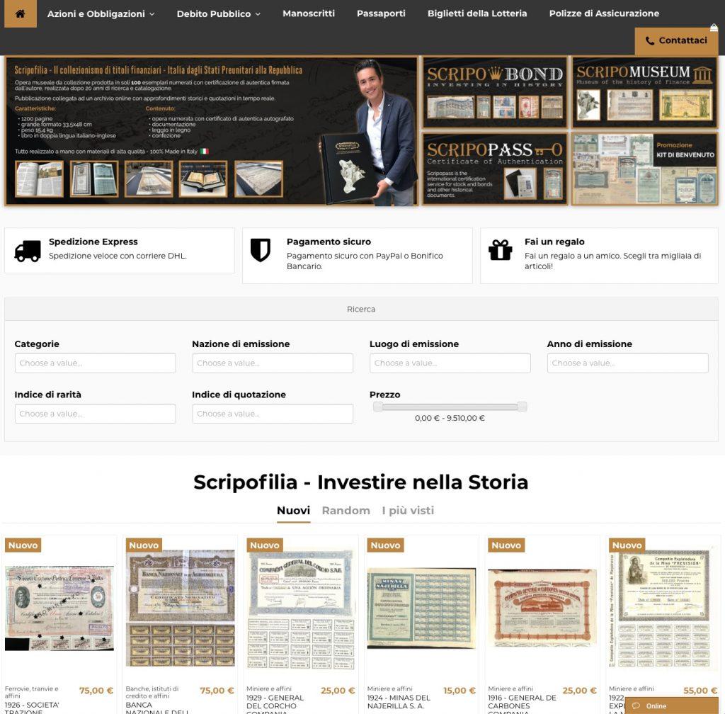 Scripofilia.it il portale da record per i titoli storici da collezione • Scripomarket
