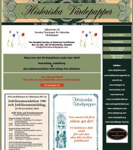 Swedish Scripophily Society 40th Anniversary Celebration & Auction, Stockholm – Sweden