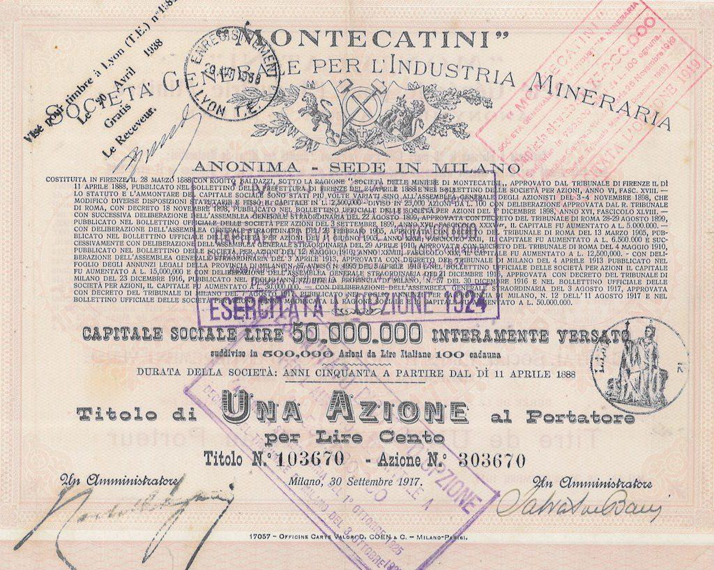 Montecatini nella Scripofilia di Alberto Puppo – Scripomarket