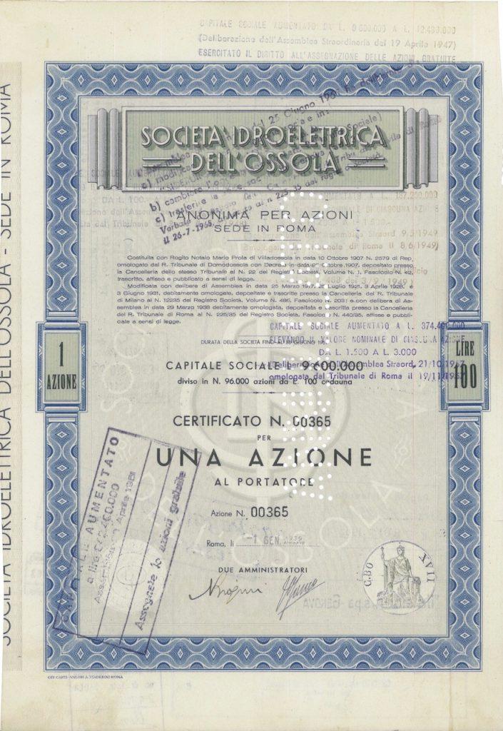 Società Idroelettrica dell'Ossola nella scripofilia di Alberto Puppo – Scripomarket