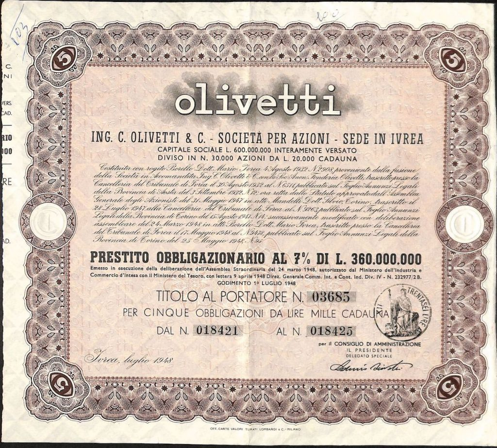 Storia della olivetti attraverso la scripofilia di Alberto Puppo – Scripomarket