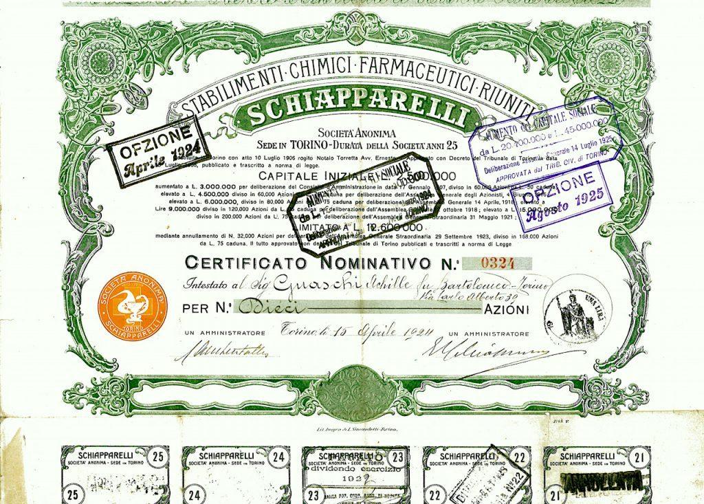 Stabilimenti chimici farmaceutici riuniti Schiapparelli Costituzione: 10 luglio 1906 di Alberto Puppo – Scripomarket