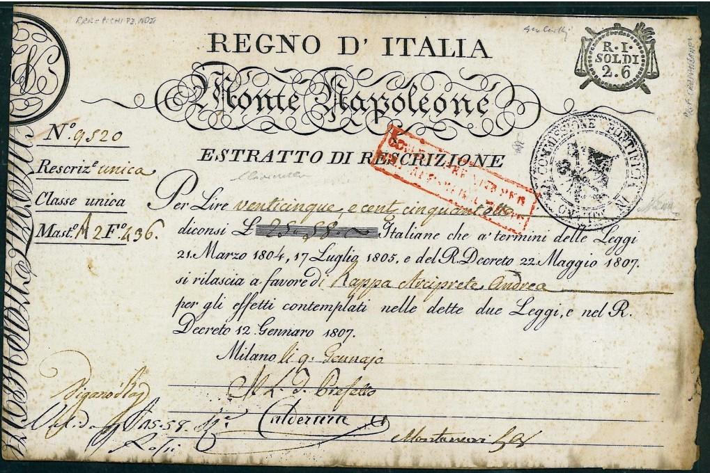 Titolo storico del MONTE NAPOLEONE REGNO D'ITALIA NAPOLEONICO di Alberto Puppo – Scripomarket