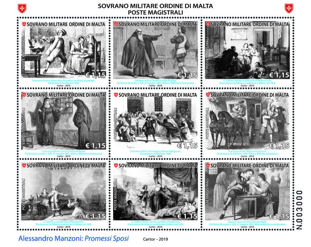 """Nuova emissione filatelica del Sovrano Ordine di Malta. 9 francobolli per una serie tematica su Alessandro Manzoni """"I Promessi Sposi"""" • Scripomarket"""