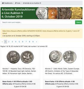 Asta live Monete Artemide Kunstauktionen eLive Auction 9 @ online