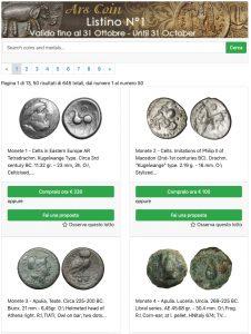 Ars Coin listino asta valido sino al 31 ottobre @ online