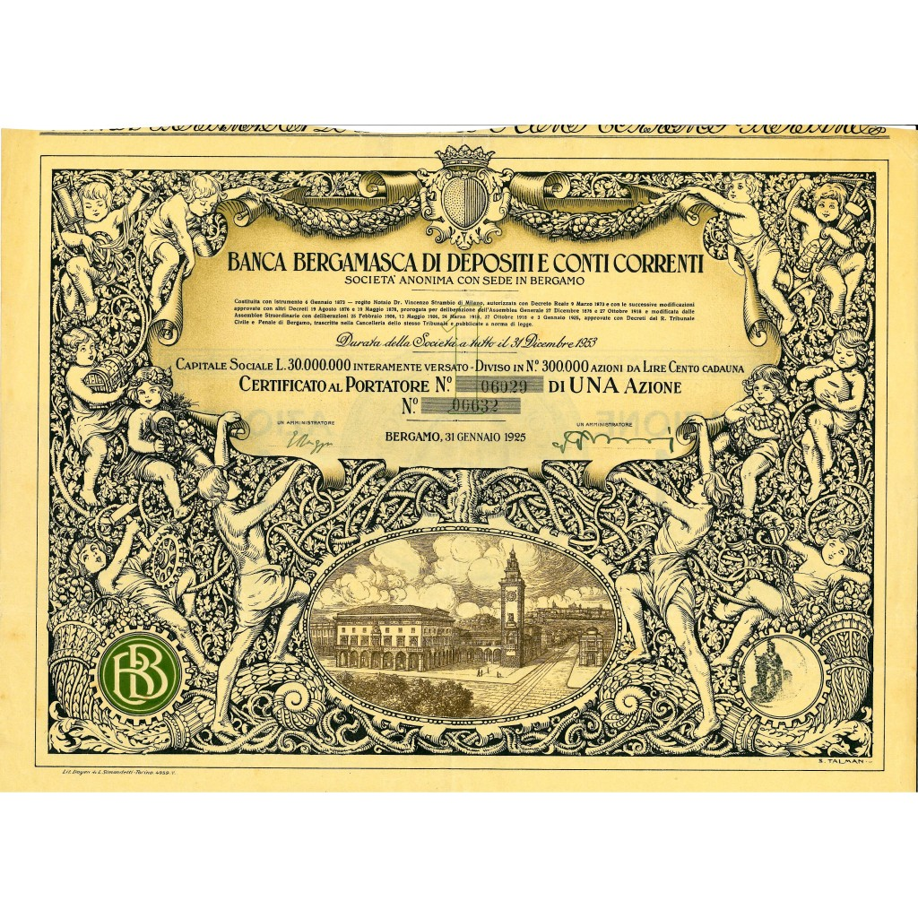 Titolo storico del 1925: BANCA BERGAMASCA DI DEPOSITI E CONTI CORRENTI 1 AZIONE LIRE 100 Disegno S. Talman - BERGAMO • Scripomarket