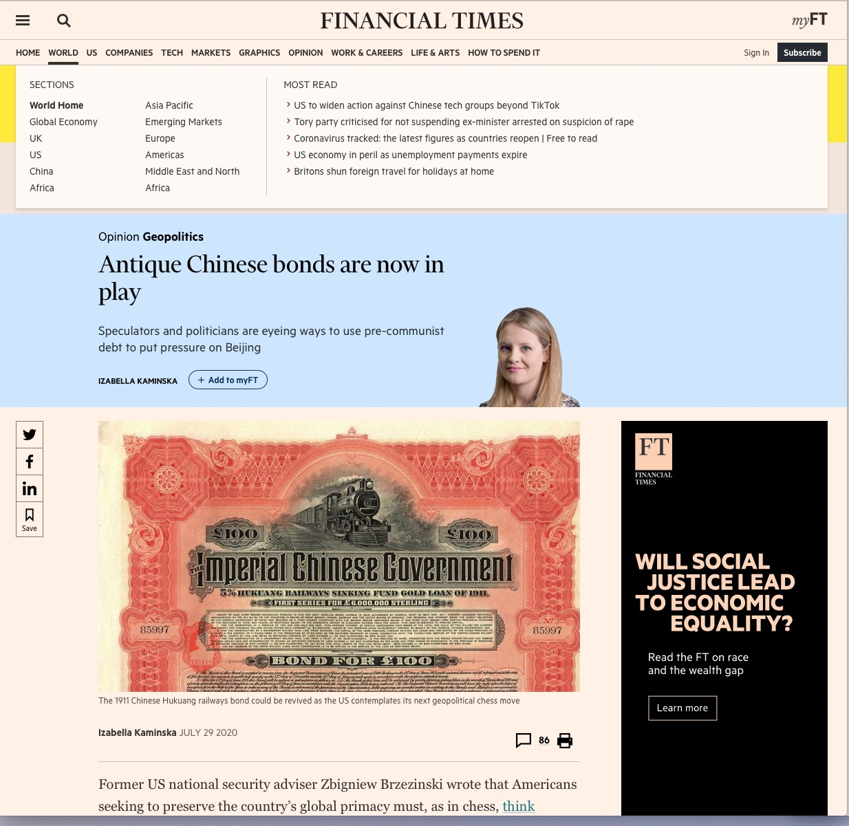 Importante articolo del Financial Times dove si parla che ora sono in gioco i titoli storici cinesi. • Scripomarket